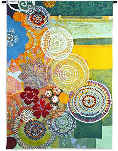 (Lace Curve by Jeanne Wassenaar - Woven Tapestry Wall Art Hanging for Home & Office Decor - Whimsical Candy-Colored Abstract of Geometrics Lace Patterns Modern - 100% Cotton - USA 72X53)