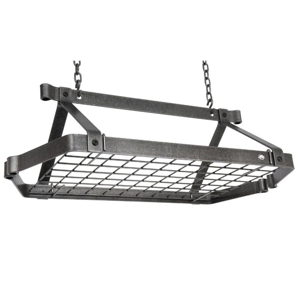 Pot Rack - Retro Rectangle (Hammered Steel) (30''L x 16''W x 10''H)