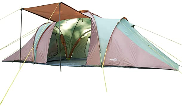 6 Persons//2X-Large Skandika Daytona Family Camping Tent with 3 Sleeping Rooms and Sun Canopy Porch