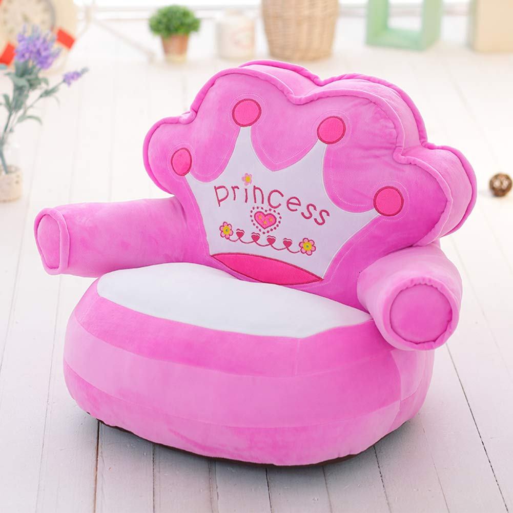 WAYERTY Children Sofa, Children's Armchair Crown Princess Seat Stool Upholstered Cartoon Baby Tatami Cushion Birthday Gift Kid Sofa-Pink 40x50cm(16x20inch)
