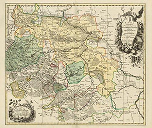 Historische Landkarte: Fürstentum Halberstadt mit der Abtei Quedlinburg und der Grafschaft Werningerode und der Harz 1760 (Plano)