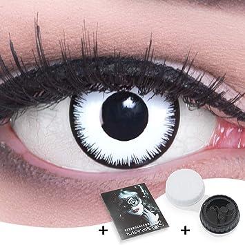 Lentillas de color blanco negro Vampiro con borde negro 1 par. Para Halloween Carnaval, carnaval de Halloween gratis estuche de lentillas sin graduación: Amazon.es: Salud y cuidado personal
