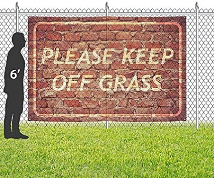 Please Keep Off Grass CGSignLab Ghost Aged Brick Wind-Resistant Outdoor Mesh Vinyl Banner 9x6