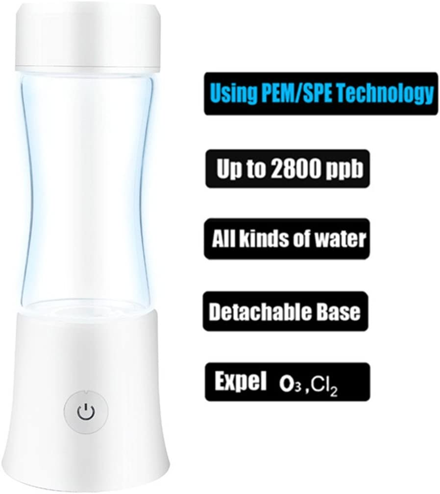 F4-2 Hydrogen-Rich Generator Water Bottle Ionizer Mode 5mins and 7mins High Concentration Discharge Ozone and Chlorine (White)