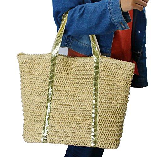 ummer Beach Tote,Women's Shoulder Bag with Top Zipper Closure Women Top Handle Handbag(Golden Stripes) (Elegant Straw)