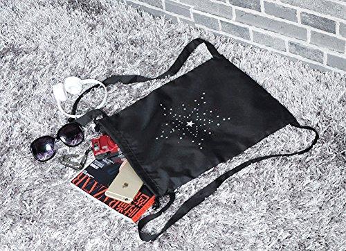 Léger En Voyager Lavé Stockage Simple Sacs Weimay Cordon Sac De Dos Sales Et Hommes À Poche Femmes Paquet Nylon Pour Noir 6tfw8fa