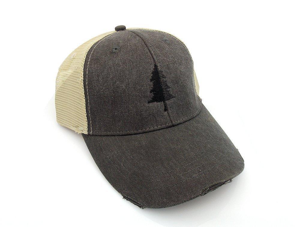 Trucker Hat - Split Tree Illustration - Men's Distressed Mesh Backed Hat - 3 Color Options