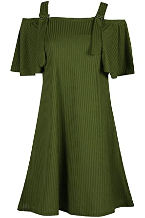 Oops Outlet Womens Ladies Cold Shoulder Ribbed Strappy Bell Sleeve Camisole Swing  Dress 7c155fa57