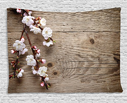 Rustic Home Decor Tapestry by Ambesonne, Romantic Spring Cherry Blossom Branch over Old Table Love Valentines, Wall Hanging for Bedroom Living Room Dorm, 80WX60L Inches, Brown White -