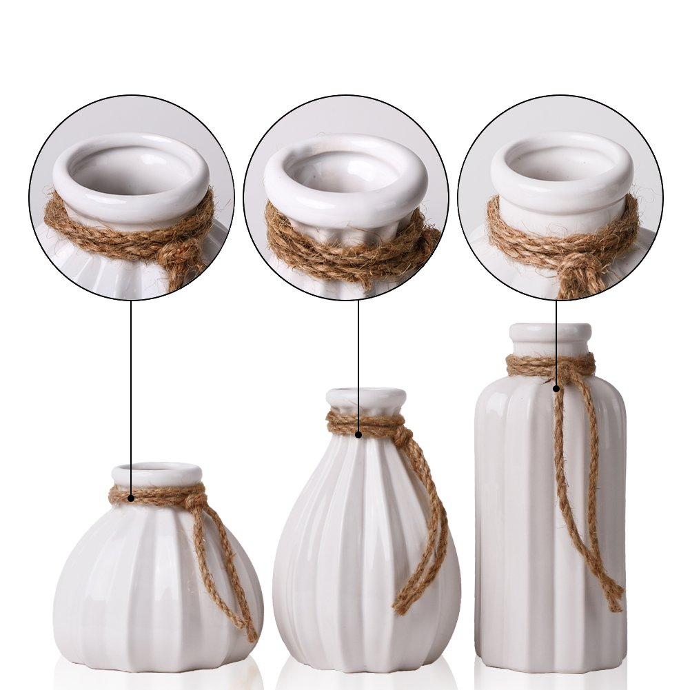 TERESAS COLLECTIONS Ceramic Flower Vases Office Wedding Table Home Kitchen Set of 2 Grey White Handmade Modern Decorative Vase for Living Room Centerpiece or as a Gift
