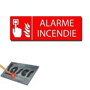 Placa grabada autoadhesivo 30 x 10 de alarma de incendios ...