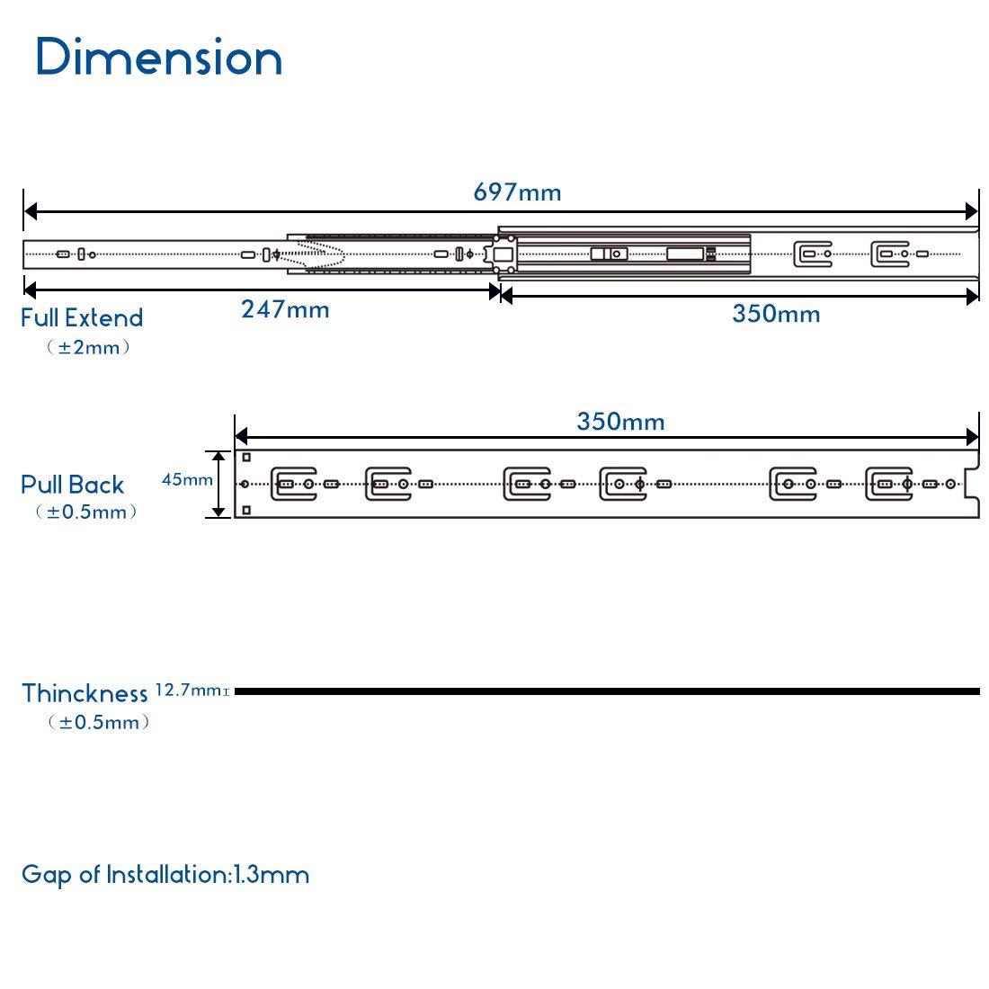 16/'/' 28/'/' Pair Heavy Duty 45kg Fully Extension Ball Bearing Drawer Slide Runner