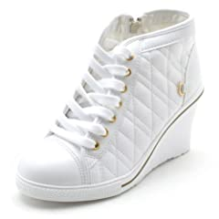 580043e2321 EpicStep Women s High Top Wedges High Heels Lace Up Quilted Casual Fashion  Sneakers - Casual Women s Shoes