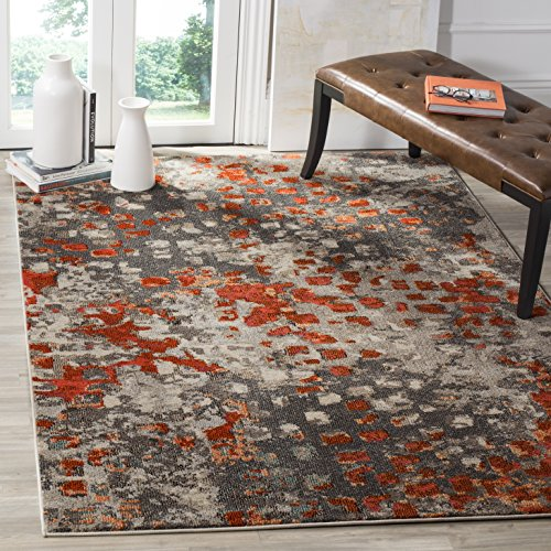 Safavieh Monaco Collection MNC225H Modern Abstract Grey and Orange Area Rug (9' x 12')