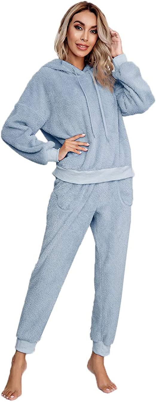 VamJump Women 2 Piece Pajama Set Fleece Casual Hoodie Pullover Long Pants Loungewear Clothing Set