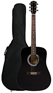 Fender FA-100 Limited Edition Dreadnought Acoustic Guitar with Gig Bag – Black