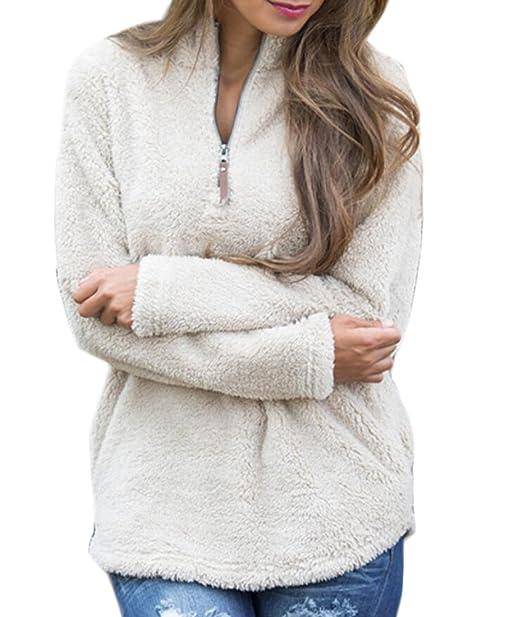 XTX Women Fleece Long Sleeve Quarter Zip Pockets Pullover Sweatshirt Top 1 S e2f1c01a77