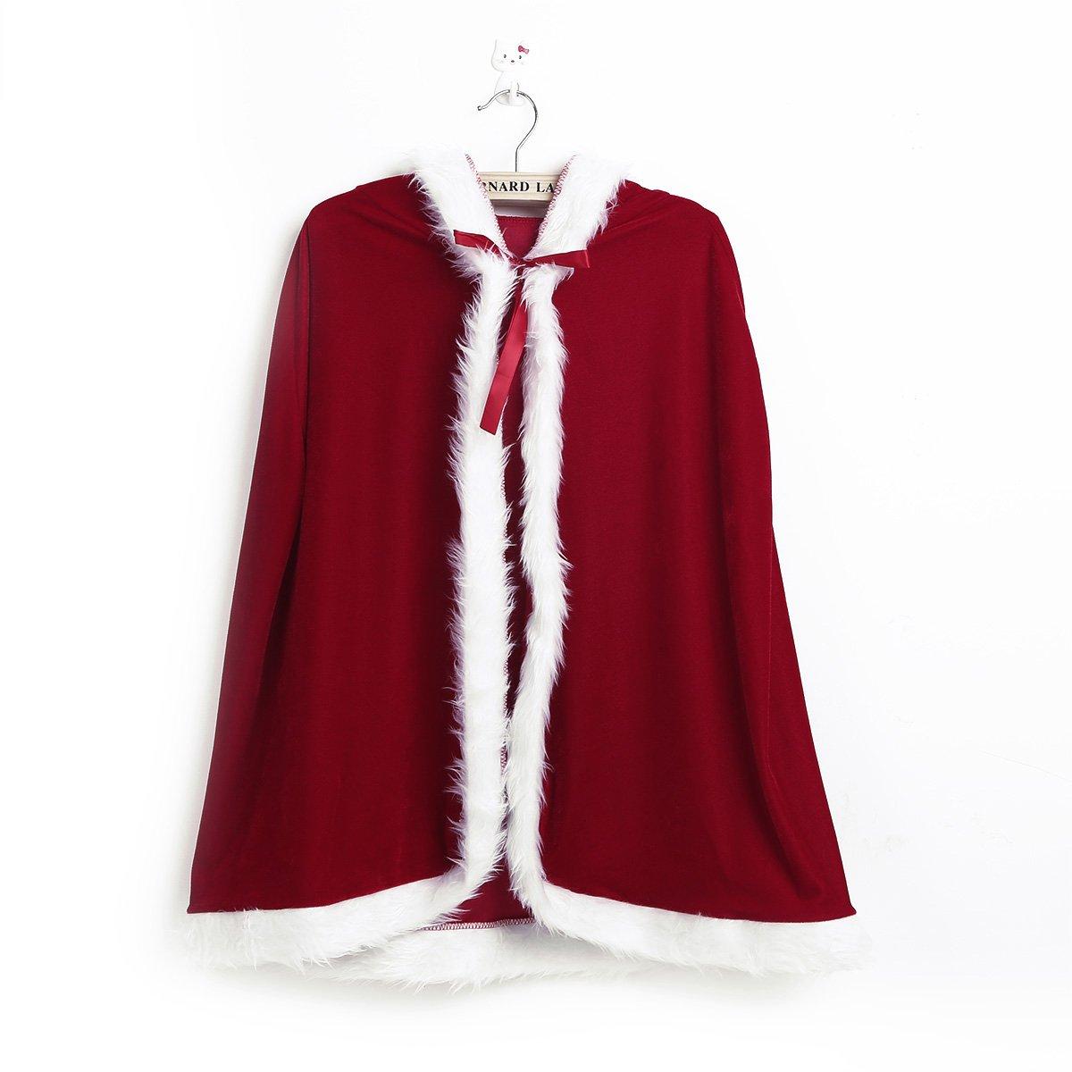 iiniim Kids Boys Girls Christmas Santa Cloak Velvet Hooded Cape Cosplay Costumes Red 3-4