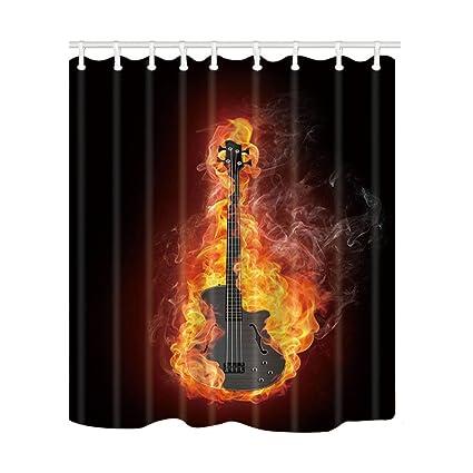 KOTOM Music Decor Cortinas de Ducha por Guitarra Eléctrica bajo en Cortinas de Baño de Fuego