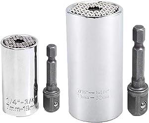 Universal Socket Wrench Set (11-32mm 7-19mm) Multi-function Hand Tools Universal Repair Tools,Multi-function Ratchet Universal Sockets,2 PCS Set