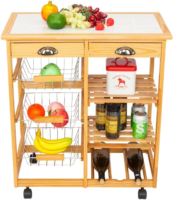Goujxcy Rolling Drop Leaf Kitchen Dining Room Storage Rack Trolley Cart Island White Tile Top Table with 2 Wood Drawer & 3 Steel Baskets Removable Wood Color
