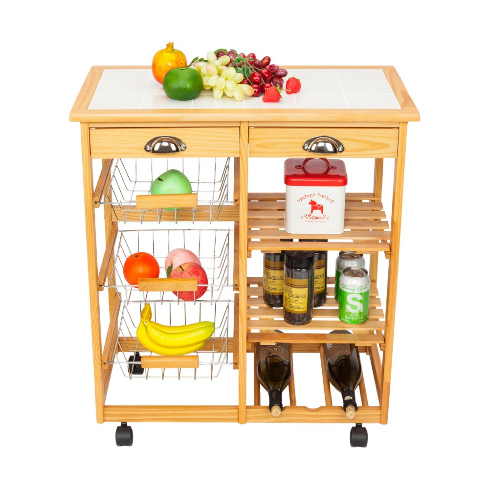 FCH Kitchen Island Cart Table Rolling Trolley Storage with 2 Drawers & 1 Wine Racks & 3 Baskets & 2 Rows 26 3/8'' x 14 9/16'' x 29 1/2'' Wood Color