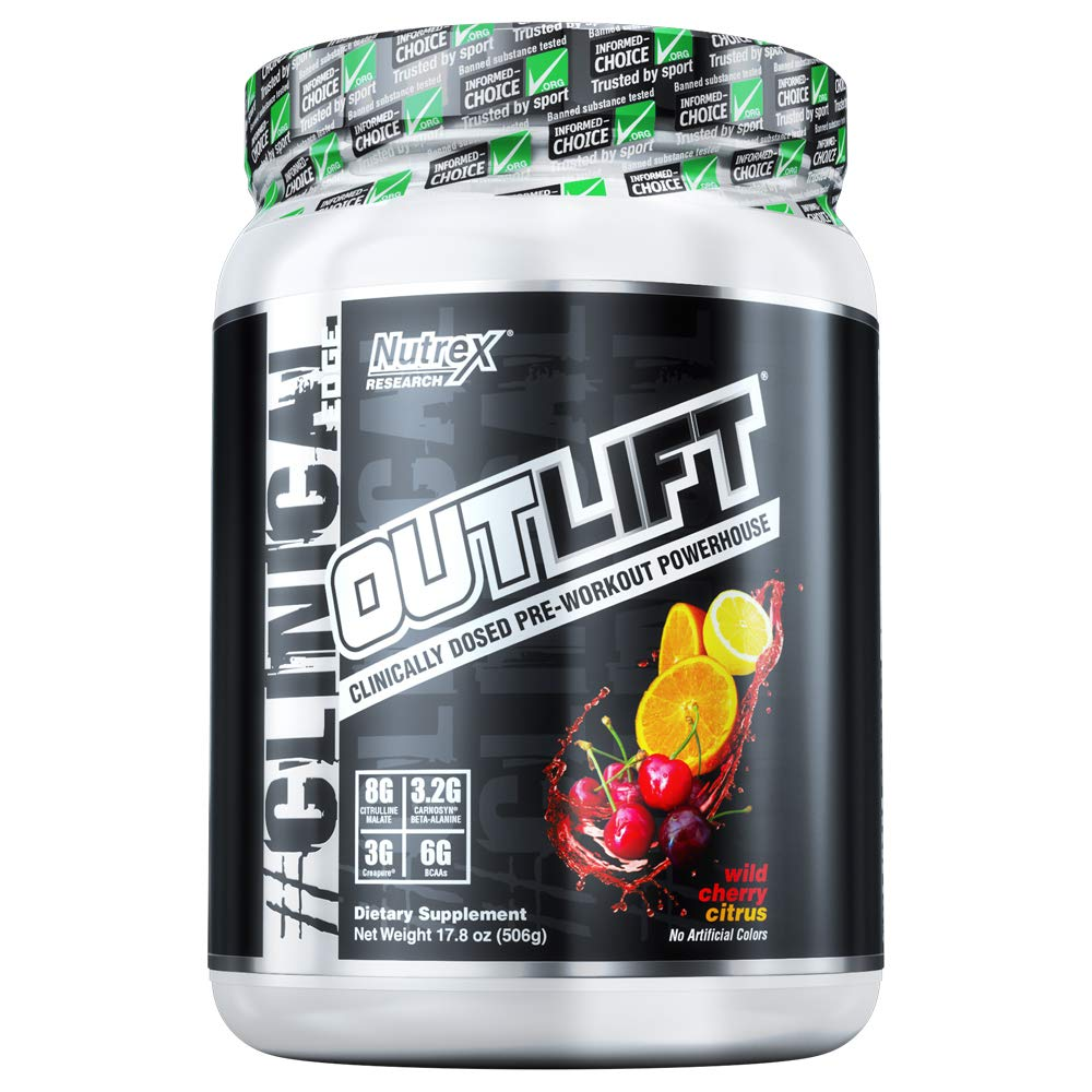 Nutrex Research Outlift Clinically Dosed Pre-Workout Powerhouse, Citrulline, BCAA, Creatine, Beta-Alanine, Taurine, Banned Substance Free Wild Cherry Citrus 20 Servings