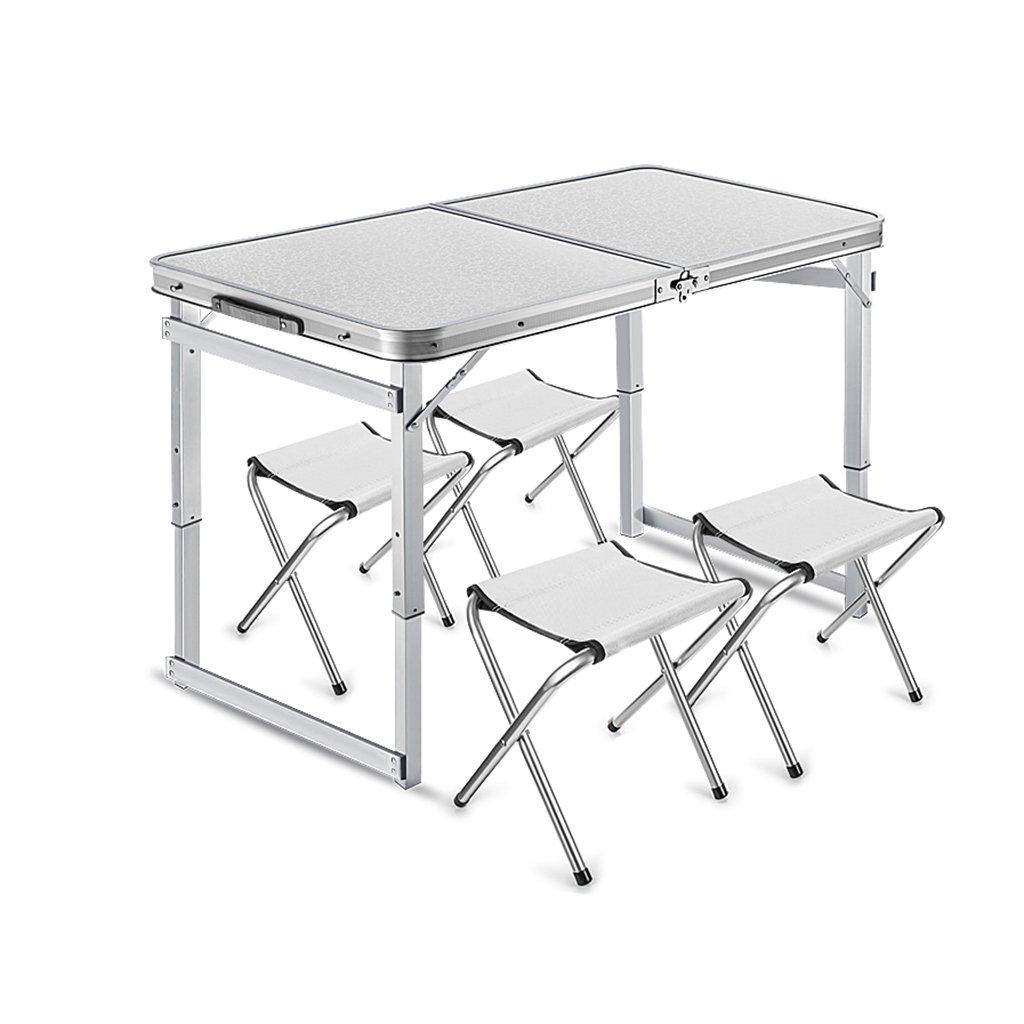 マルチウェアの折りたたみテーブルと4つのチェアは、ピクニックガーデンのダイニングキャンプ用ポータブル屋外を設定します - 120cm x 60cm(L&W) B07GBMHRNK E