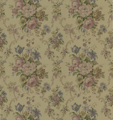 - Brewster 430-7038 Signature V Floral Scroll Wallpaper, 20.5-Inch by 396-Inch, Gold