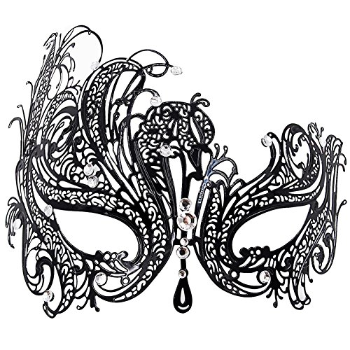 Masquerade Mask for Women Venetian Party Prom Ball Metal Mask Black -