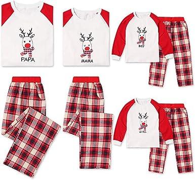 TLLW Pijama familiar de Navidad a juego con 2 piezas de ...