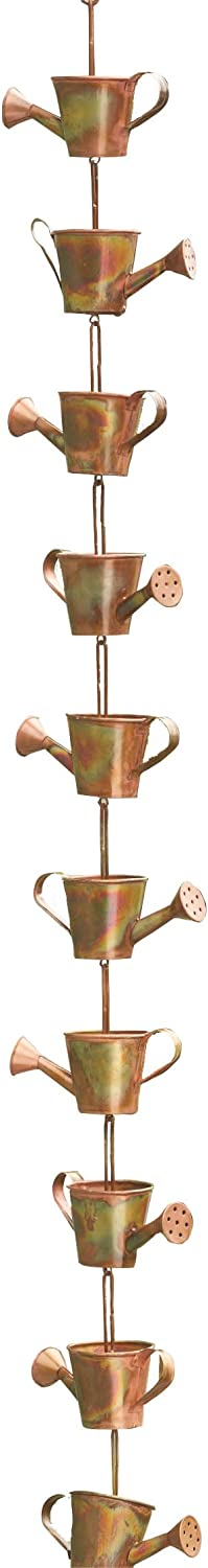 Ancient Graffiti Flamed Copper Colored Watering Cans Rain Chain, 5