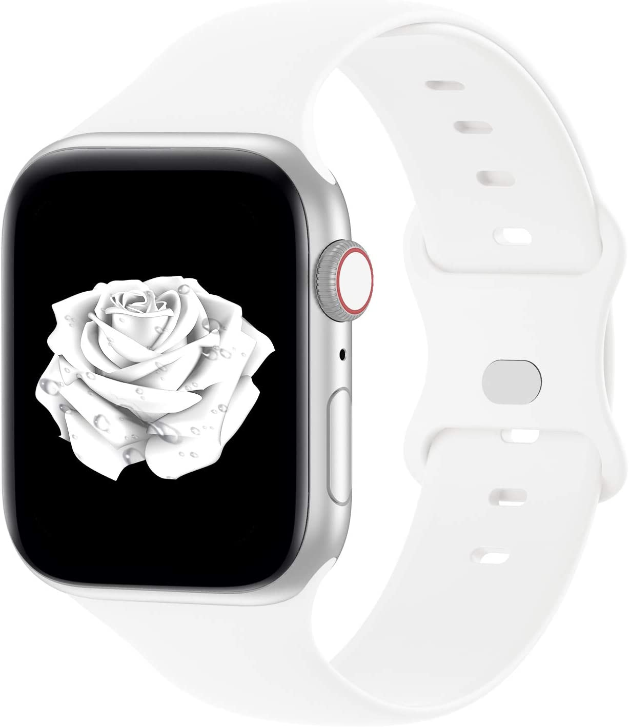 Bandiction Compatible with Apple Watch Series 3 42mm Series 5 44mm iWatch Bands 42mm 44mm, Soft Silicone Sport Replacement Strap Compatible for iWatch SE Series 6 5 4 3 2 1, Sport Edition, 42/44MM