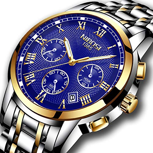 (Mens Analog Quartz Waterproof Watches Chronograph Stainless Steel Luxury Brand Fashion Dress Business Wristwatch Blue)