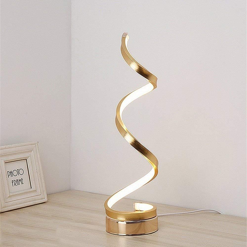LED Spiral Tischlampe, Dimmbare Nachttischlampe Kreative Kurve Lesen Nachtlicht Nordic Wohnzimmer Schlafzimmer Dekoration Schreibtischlampe (Color : Gold)