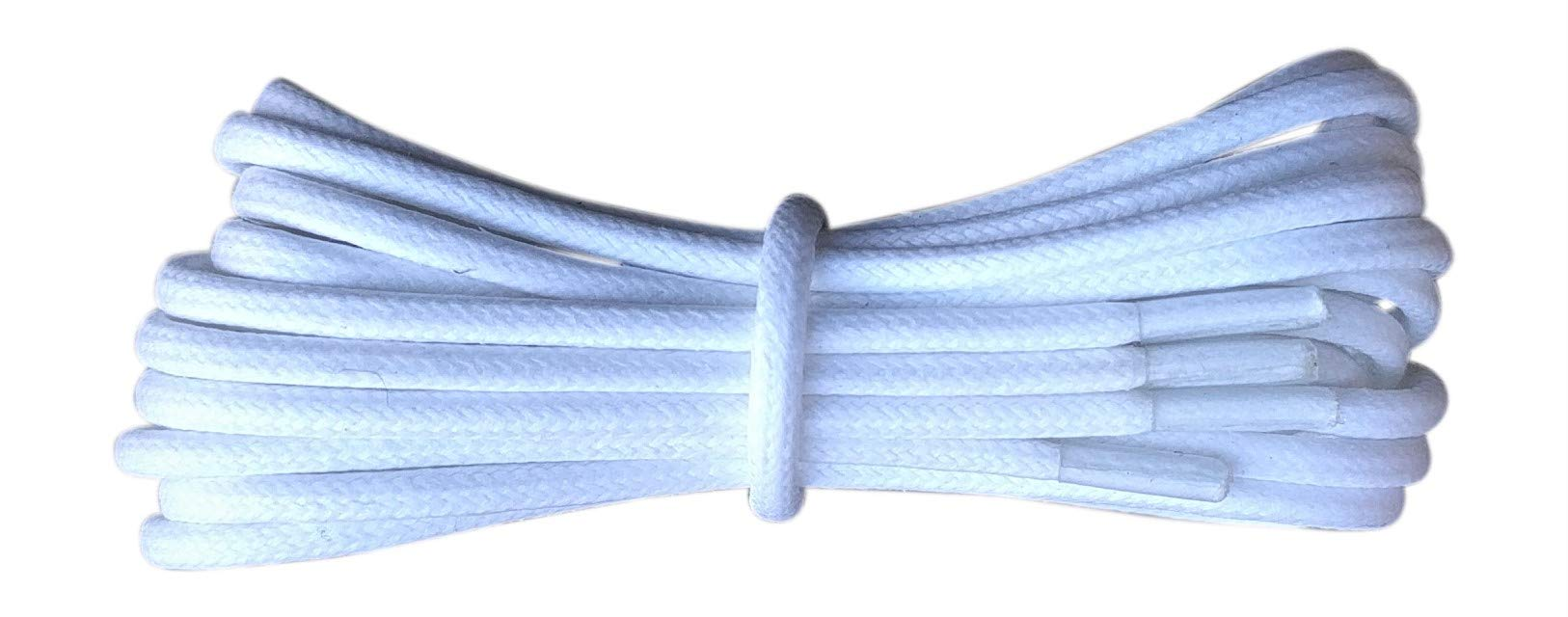 Thin Round White Waxed Cotton Shoelaces - 18'' / 45 cm length - Thin laces for dress shoes and boots.