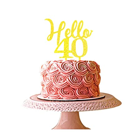 Image Unavailable Not Available For Color Hello 40 Cake Topper 40th Birthday Party Decorations