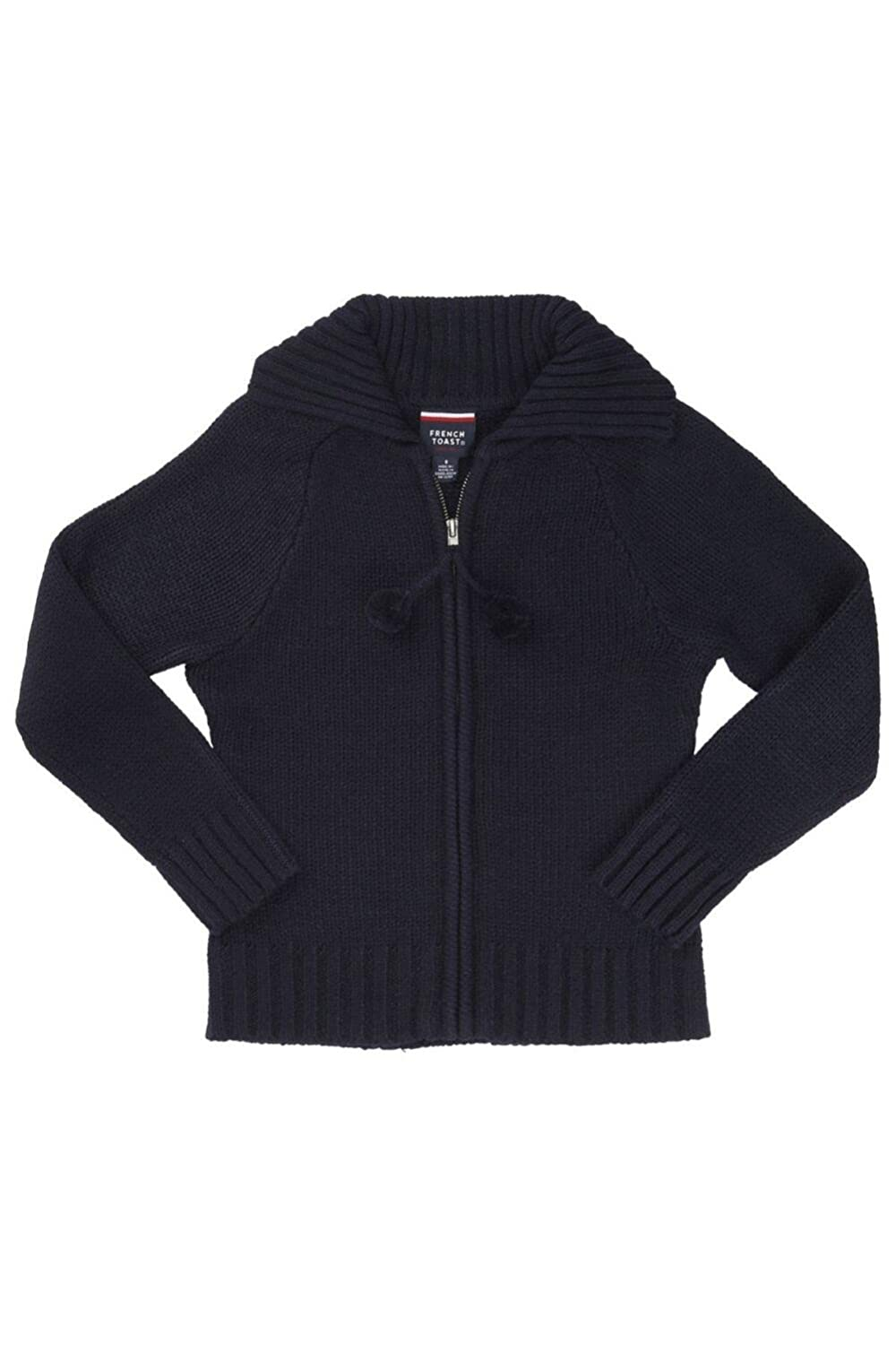 French Toast Pom-Pom Zip-Up Sweater Girls Navy 1358B NAVY 4