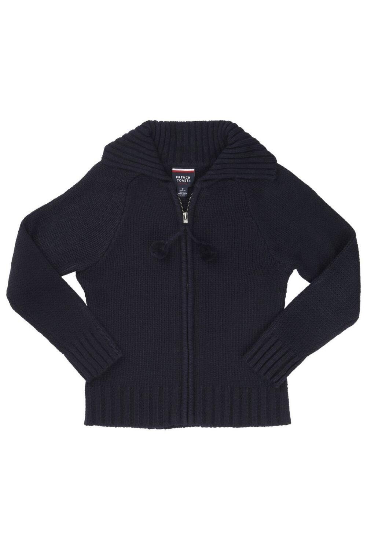 French Toast Pom-Pom Zip-Up Sweater Girls Navy 6X