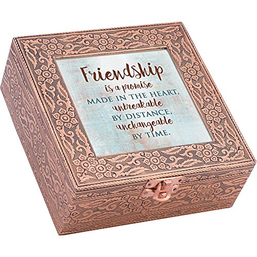 (Friendship a Promise Unbreakable Copper Stamped Metal Jewelry Music Box Plays Tune That's What Friends are for)