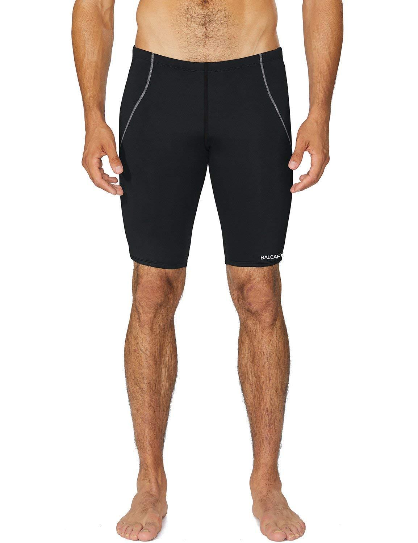 Baleaf Men's Athletic Durable Training Polyester Jammer Swimsuit Black 42 by BALEAF