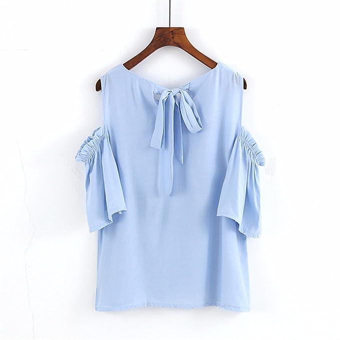 jia128 Camisas, Manga Corta para Mujer, Pequeña, Fresca, con Lazo, Muñecas