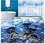 ZLJTYN 370cmX245cm Custom 3 d PVC wallpaper photo wallpaper Pure and fresh and the blue waves reefs bathroom 3 d floor tile floor wallpaper