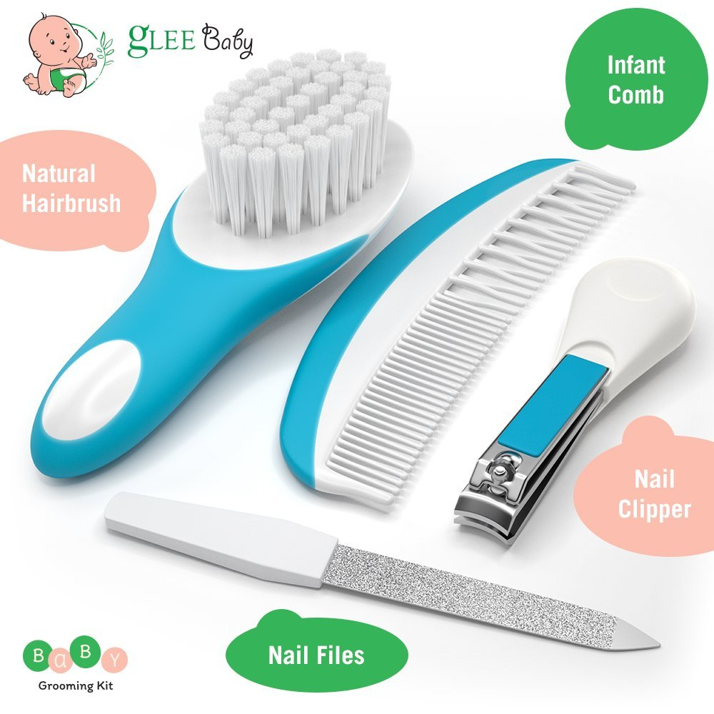 Baby Grooming Kit   Baby care New born Healthcare kits   Nursery Essentials Set for Babies Best Baby Shower and Registry gifts   Includes Nail Clipper Infant Hair Brush Comb Thermometer  Unisex (Blue)