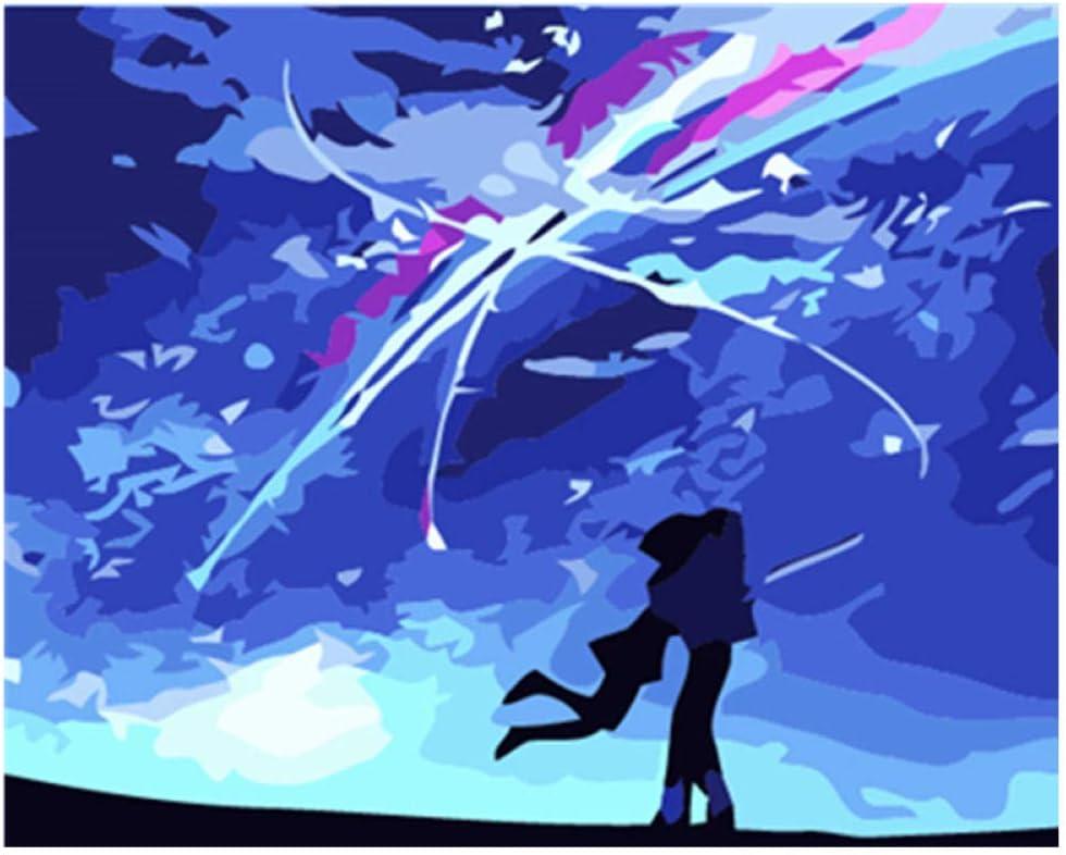 nobrand Bricolaje Digital Óleo Cuadro Amor Estrellado Regalo De Pintura Al Óleo para Adultos Niños Pintura por Número Kits Decoraciones para El Hogar 16 * 20 Pulgadas (Sin Marco)