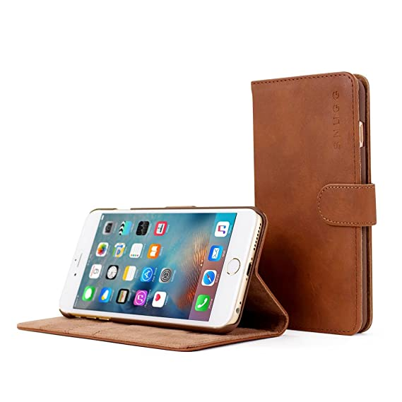 finest selection 2f7b1 0c5b7 iPhone 6 Plus and 6S Plus Case, Snugg Brown Leather Flip Case [Card Slots]  Executive Apple iPhone 6 Plus and 6S Plus Wallet Case Cover and Stand - ...