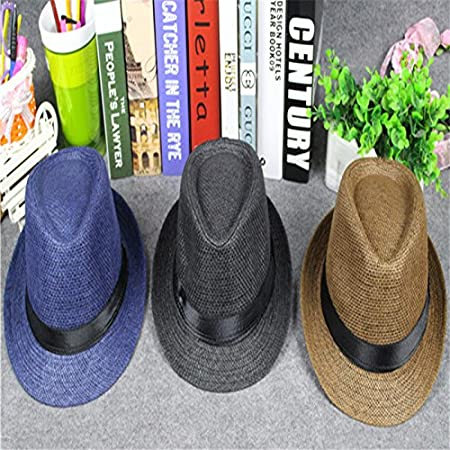 56-58 cm Milopon Panama Hat Casual Cap Men Round for Outdoor Sports Camping Spring Summer Beach Sun Hat Straw Hat Black