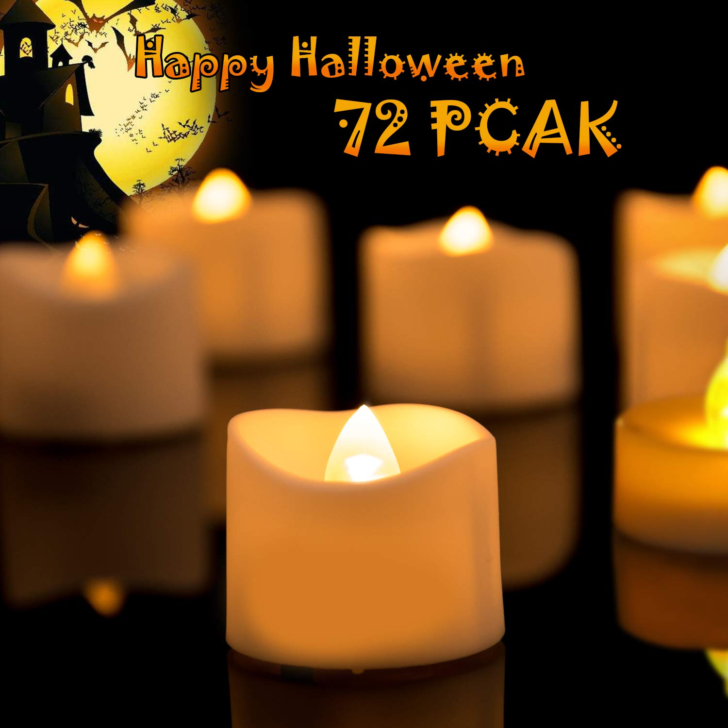 Homemory Battery Tea Lights Bulk, Set of 72 Bright Warm Yellow Flameless LED Tea Candles, Electric Tea Lights with Flickering, Long-Lasting Battery Life, 1.25'' H X 1.4'' D by Homemory