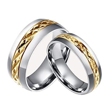 Chryssa Novelty Gold Plated 8MM Men Titanium Stainless Steel Couple Wedding Bands for Him and Her
