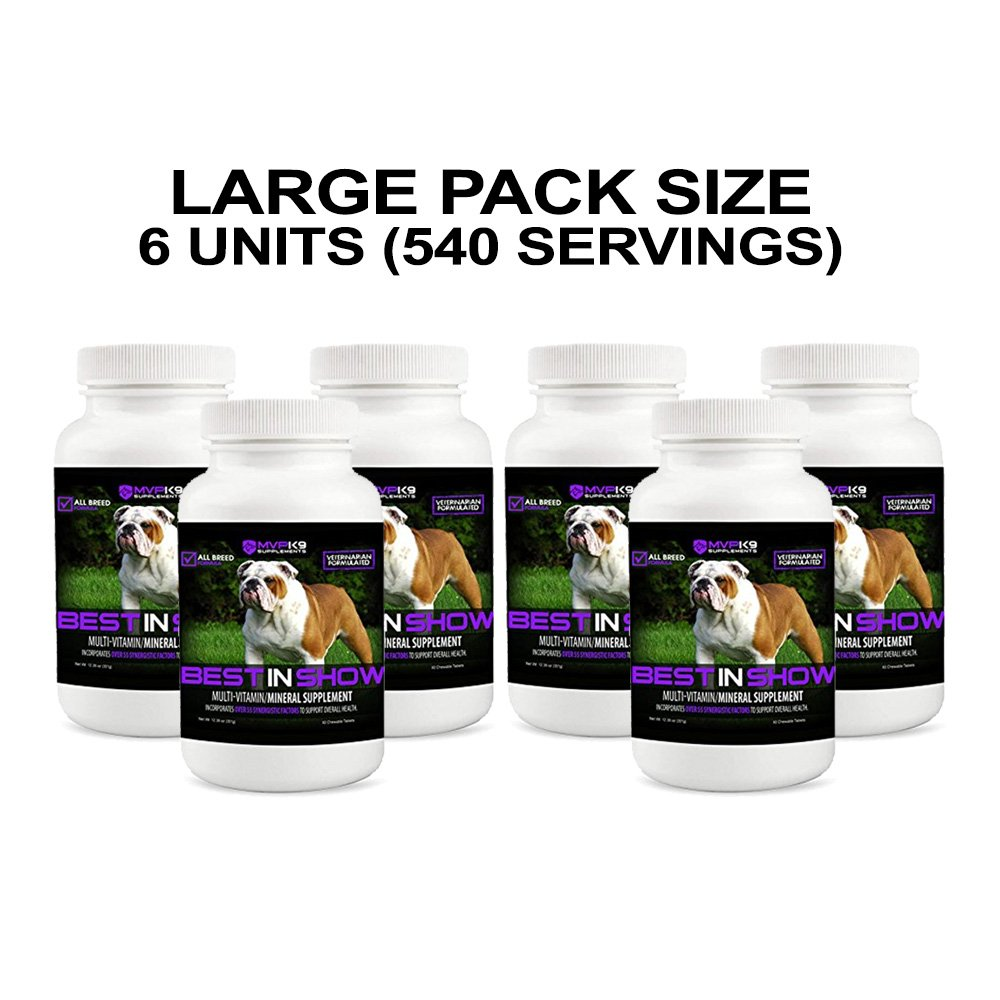 Best in Show Vitamins & Minerals for Dogs (540 Chewable Tablets - Large Pack Size) Made in the USA by MVP K9 Supplements